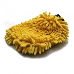 Gant de lavage microfibre jaune